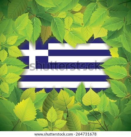 Dense, green leaves over the flag of Greece - stock vector