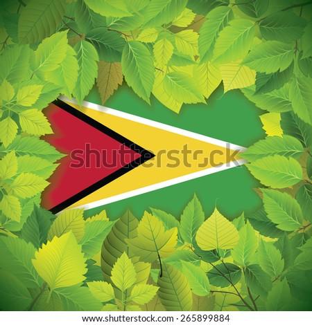 Dense, green leaves over the flag of Guyana - stock vector