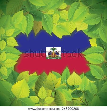 Dense, green leaves over the flag of Haiti - stock vector