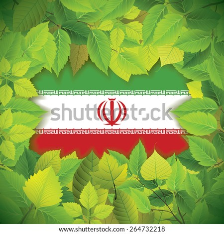 Dense, green leaves over the flag of Iran - stock vector