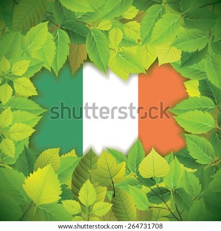 Dense, green leaves over the flag of Ireland - stock vector