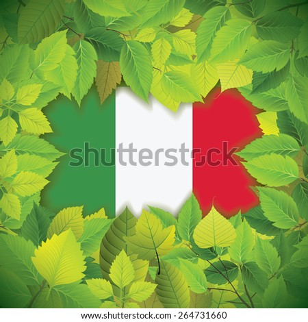 Dense, green leaves over the flag of Italy - stock vector