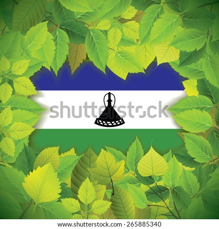 Dense, green leaves over the flag of Lesotho - stock vector