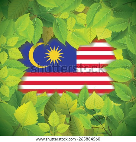 Dense, green leaves over the flag of Malaysia - stock vector