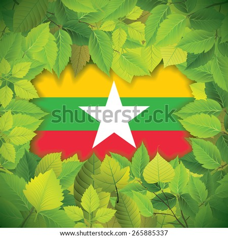 Dense, green leaves over the flag of Myanmar