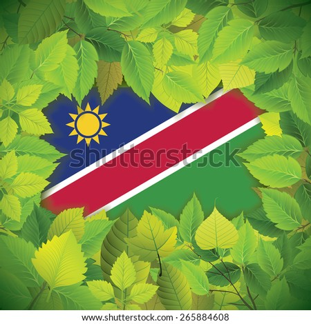 Dense, green leaves over the flag of Namibia - stock vector