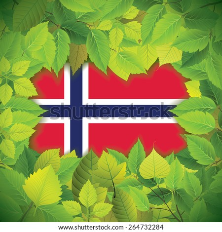 Dense, green leaves over the flag of Norway - stock vector