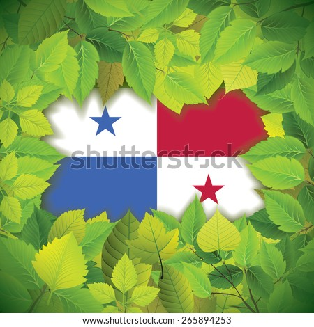 Dense, green leaves over the flag of Panama
