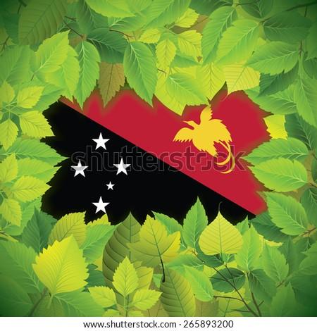 Dense, green leaves over the flag of Papua New Guinea - stock vector