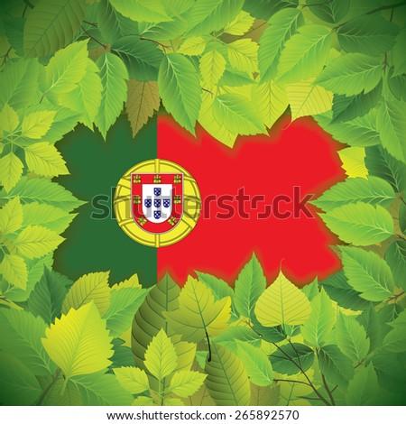 Dense, green leaves over the flag of Portugal - stock vector
