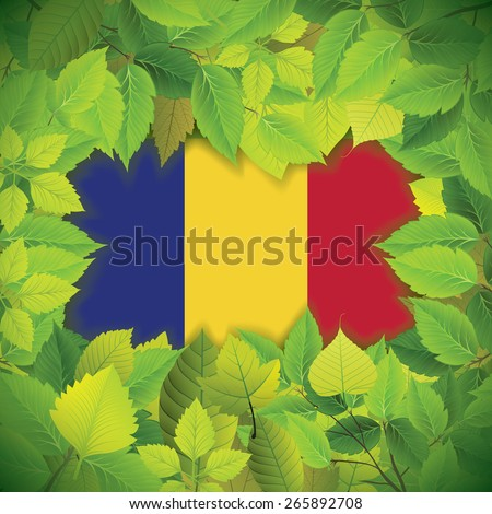 Dense, green leaves over the flag of Romania - stock vector