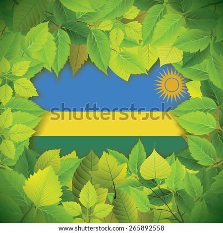 Dense, green leaves over the flag of Rwanda - stock vector