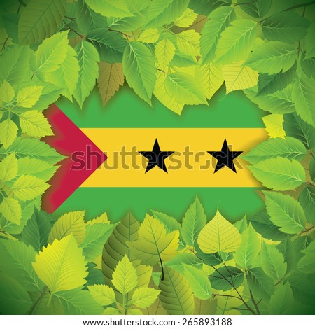 Dense, green leaves over the flag of Sao Tome and Principe - stock vector