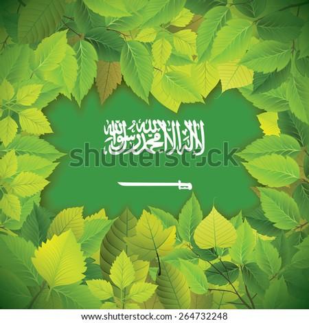 Dense, green leaves over the flag of Saudi Arabia - stock vector