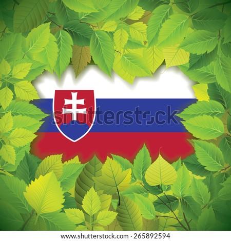 Dense, green leaves over the flag of Slovakia - stock vector