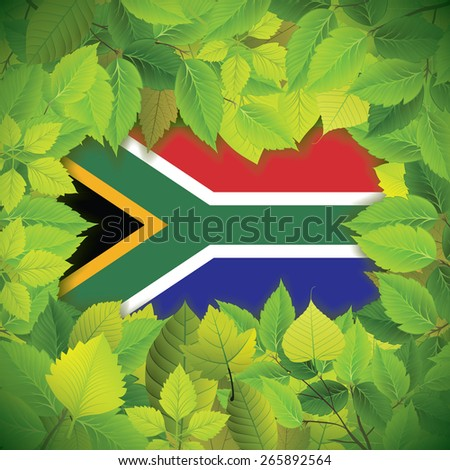 Dense, green leaves over the flag of South Africa - stock vector