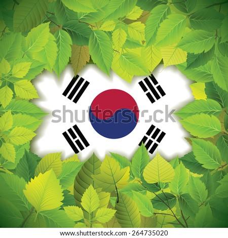 Dense, green leaves over the flag of South Korea - stock vector