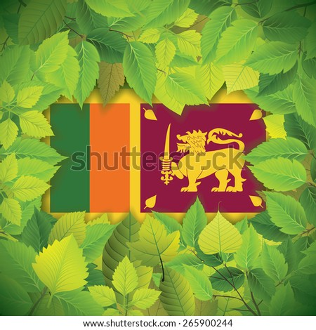 Dense, green leaves over the flag of Sri Lanka - stock vector