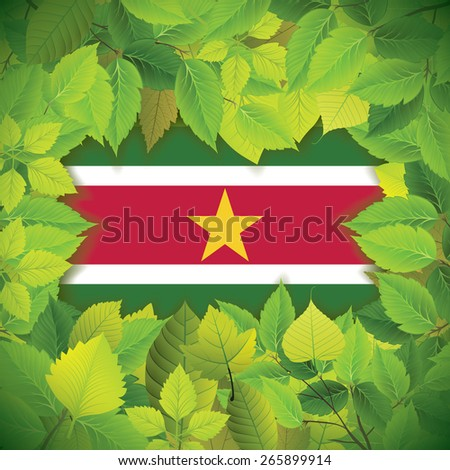 Dense, green leaves over the flag of Suriname - stock vector