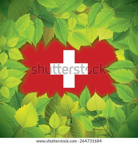 Dense, green leaves over the flag of Switzerland - stock vector