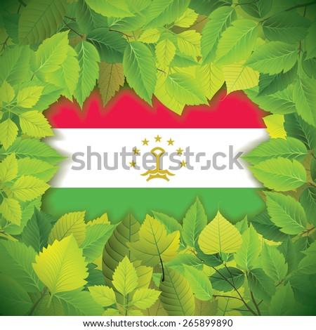 Dense, green leaves over the flag of Tajikistan - stock vector