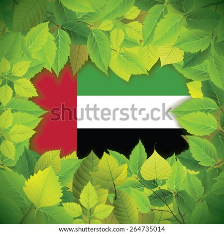 Dense, green leaves over the flag of the United Arab Emirates - stock vector