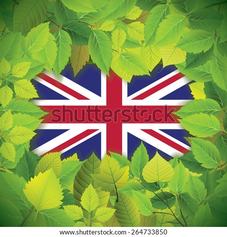 Dense, green leaves over the flag of the United Kingdom - stock vector