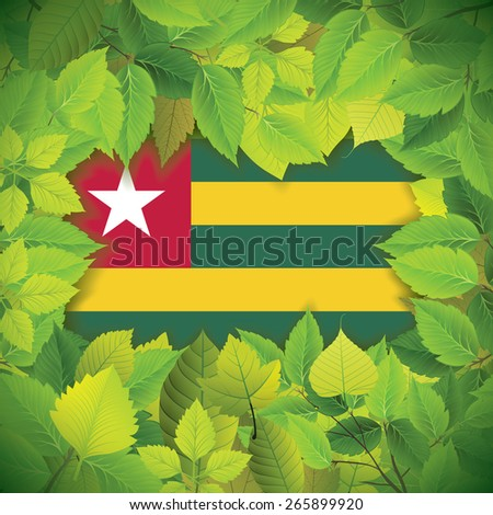 Dense, green leaves over the flag of Togo - stock vector