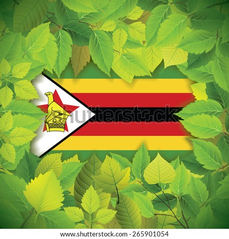 Dense, green leaves over the flag of Zimbabwe - stock vector