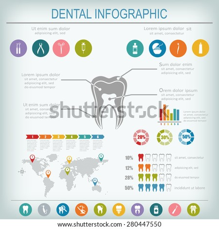Dental and teeth care infographics. Tooth treatment, prevention and prosthetics. Set of flat vector dental icons. - stock vector