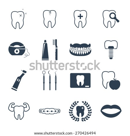 Dental and teeth health icon set - stock vector