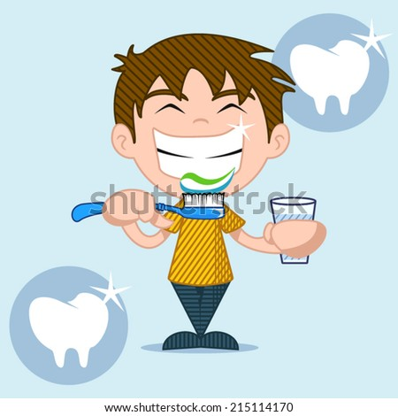 Dental care and health, kids, vector illustration. - stock vector