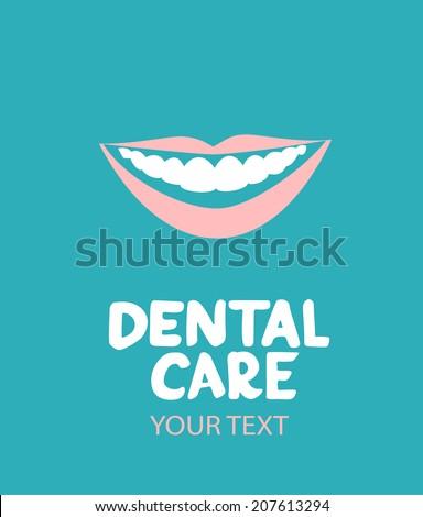 Dental care design concept. Human teeth, smile, lips - stock vector