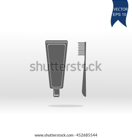 Dental care icon. Toothbrush and toothpaste. Vector illustration