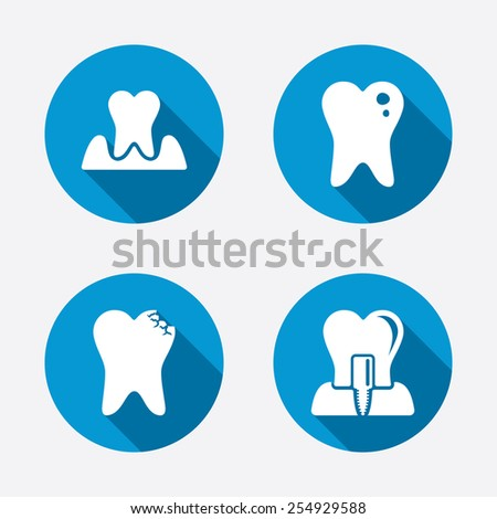 Dental care icons. Caries tooth sign. Tooth endosseous implant symbol. Parodontosis gingivitis sign. Circle concept web buttons. Vector - stock vector