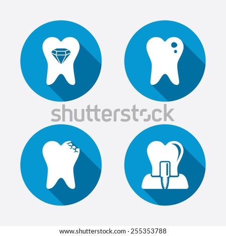 Dental care icons. Caries tooth sign. Tooth endosseous implant symbol. Tooth crystal jewellery. Circle concept web buttons. Vector - stock vector