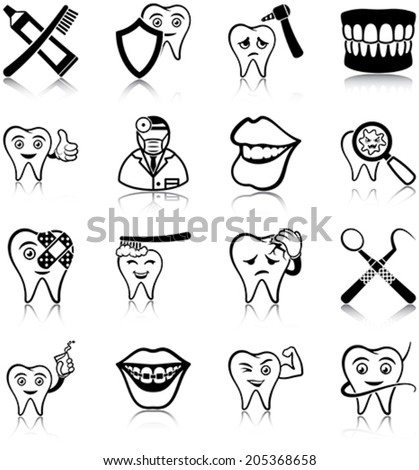 Dental care related vector icons/ silhouettes - stock vector