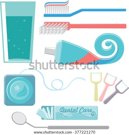 dental care set. tooth brush, toothpaste tube, dental floss, rinse mouth, chewing gum and dental mirror. simple flat design. vector illustration - stock vector