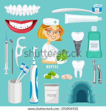 Dental care symbols. Teeth dental care mouth health set with inspection dentist treatment isolated vector illustration - stock vector