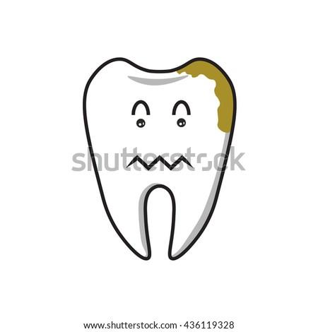Dental Cartoon ,had toothache 1 - stock vector