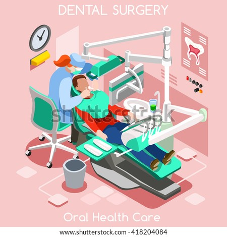 Dental Center Dentist Chair teeth hygiene and whitening oral surgery center dentist and patient. Flat 3D isometric people dentistry dental center clinic room dentist chair vector illustration. - stock vector