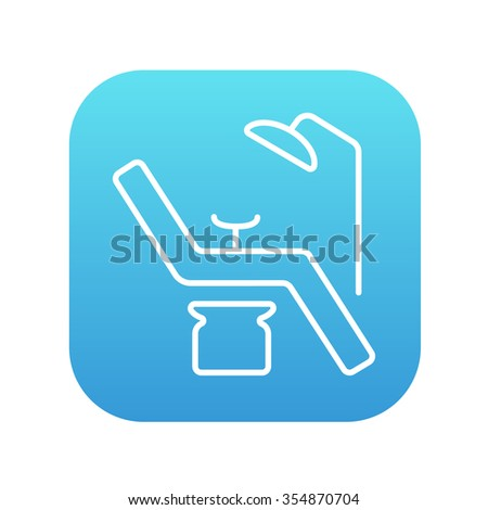 Dental chair line icon for web, mobile and infographics. Vector white icon on the blue gradient square with rounded corners isolated on white background. - stock vector