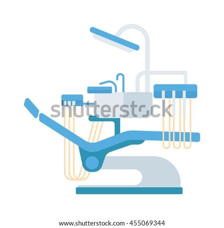 Dental chair vector illustration. Vector illustration dental chair template design. Dental chair in clinic vector. Dental chair illustration isolated - stock vector