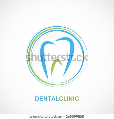Dental clinic logo with concept tooth icon on circle green blue badge art - stock vector