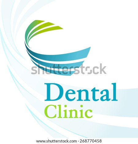 Dental clinic logo with dynamic elements - stock vector