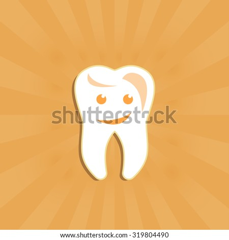 Dental clinic poster or logo in orange color with smiley tooth art - stock vector