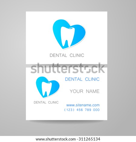 Dental Clinic Template Design Logo Corporate Stock Vector - Dentist business card template
