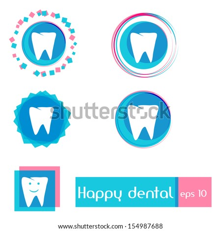 Dental clinic vector icons . Simple & Clean Design with Happy Smile . Best for Children Dental Health. - stock vector