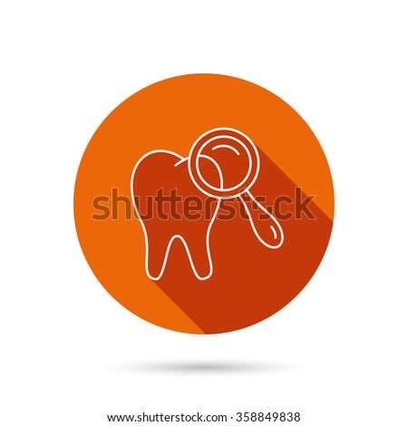 Dental diagnostic icon. Tooth hygiene sign. Round orange web button with shadow. - stock vector