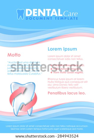 Dental document template with protected tooth icon - stock vector